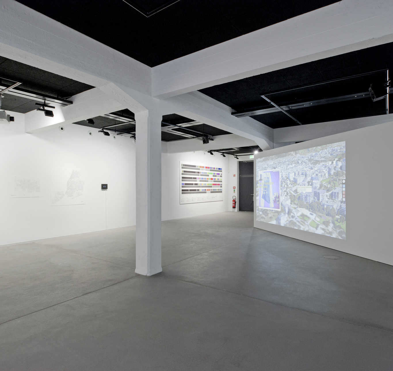 Works by Ellie Harrison (left) and Marc Lee (right). Photo: Marco Frauchiger